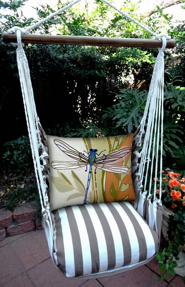 Striped Chocolate Dragonfly Hammock Chair Swing Set - Click to enlarge