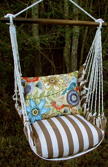 Striped Chocolate Garden Hammock Chair Swing Set - Click to enlarge