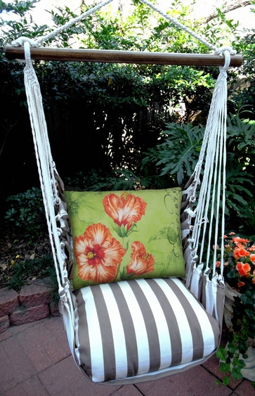 Striped Chocolate Hibiscus Hammock Chair Swing Set - Click to enlarge