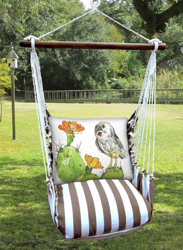 Striped Chocolate Owl on Cactus Hammock Chair Swing Set - Click to enlarge