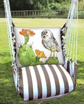 Striped Chocolate Owl on Cactus Hammock Chair Swing Set