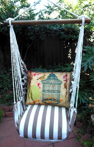 Striped Chocolate Prism Garden Hammock Chair Swing Set - Click to enlarge