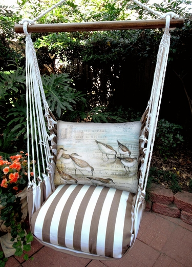 Striped Chocolate Sandpipers Garden Hammock Chair Swing Set - Click to enlarge