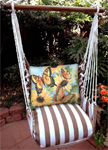 Striped Chocolate Sunflower w/3 Butterflies Hammock Chair Swing Set