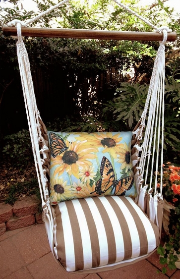 Striped Chocolate Sunflowers w/2 Butterflies Hammock Chair Swing Set - Click to enlarge
