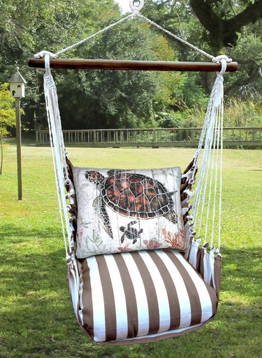 Striped Chocolate Turtle Baby Hammock Chair Swing Set - Click to enlarge