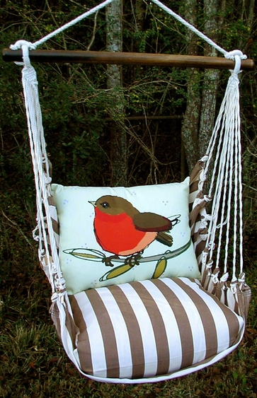 Striped Chocolate Wee Robin Hammock Chair Swing Set - Click to enlarge