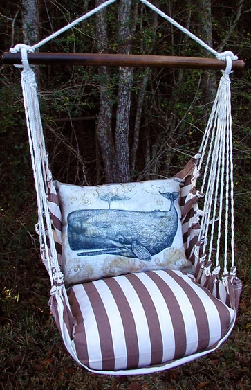 Striped Chocolate Whale Hammock Chair Swing Set - Click to enlarge