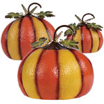 Striped Metal Pumpkins (Set of 3)