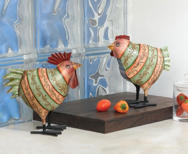 Striped Rooster & Hen (Set of 2) - Click to enlarge