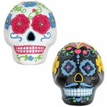 Sugar Skull Statues - Black & White