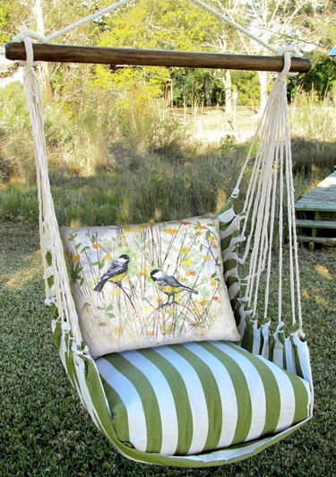 Summer Palms Chickadee Birds Hammock Chair Swing Set - Click to enlarge