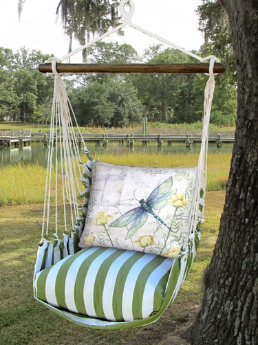 Summer Palms Dragonfly Poppies Hammock Chair Swing Set - Click to enlarge