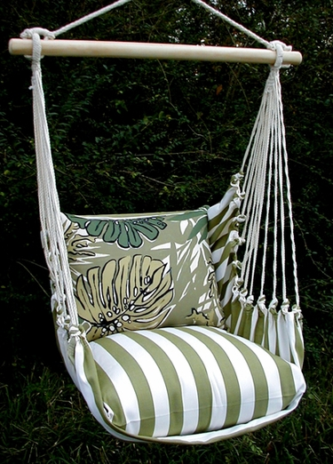 Summer Palms Green Leaves Hammock Chair Swing Set - Click to enlarge