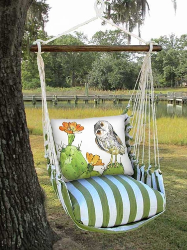Summer Palms Owl on Cactus Hammock Chair Swing Set - Click to enlarge