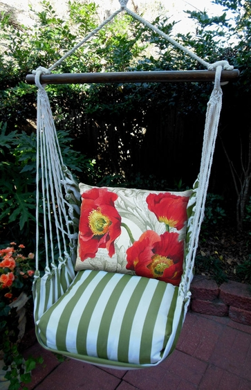 Summer Palms Poppies Hammock Chair Swing Set - Click to enlarge