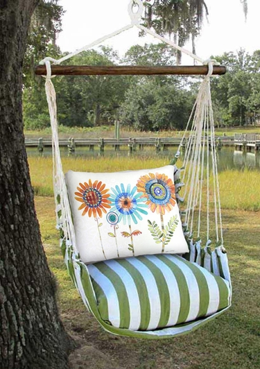 Summer Palms Summer Sunflowers Hammock Chair Swing Set - Click to enlarge