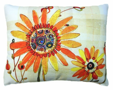 Sunflowers Orange Outdoor Pillow (18