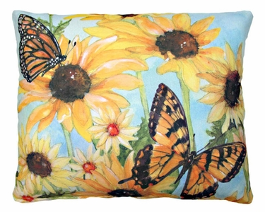 Sunflowers w/2 Butterflies Outdoor Pillow - Click to enlarge