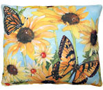 Sunflowers w/2 Butterflies Outdoor Pillow