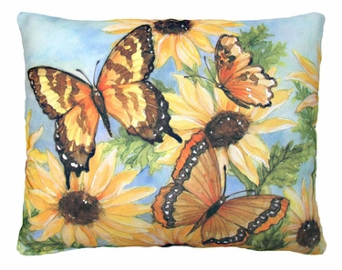 Sunflowers w/3 Butterflies Outdoor Pillow - Click to enlarge