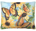 Sunflowers w/3 Butterflies Outdoor Pillow