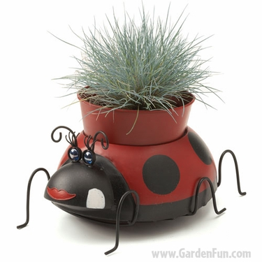 Sweet Metal Ladybug Planter - Click to enlarge