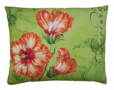 Tangerine Hibiscus Outdoor Pillow - Click to enlarge