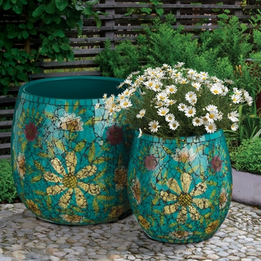 Teal Mosaic Planters Set - Click to enlarge