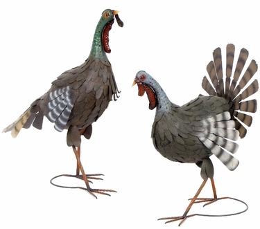 Thanksgiving Metal Turkeys (Set of 2) - Click to enlarge