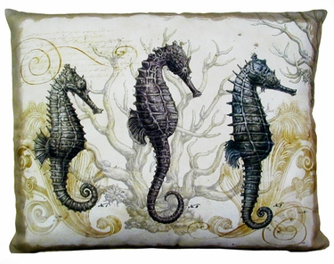 Three Seahorses Outdoor Pillow - Click to enlarge