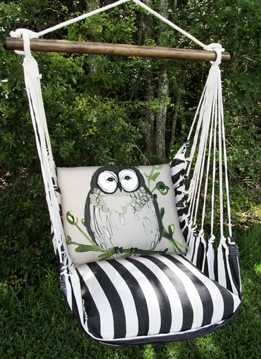 True Black Chubby Owl Hammock Chair Swing Set - Click to enlarge