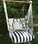 True Black Chubby Owl Hammock Chair Swing Set