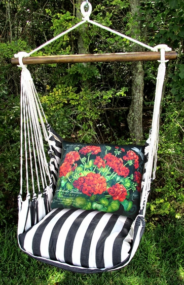 Ticking Black Red Geranium Hammock Chair Swing Set - Click to enlarge