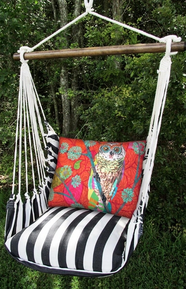 True Black Red Owl Hammock Chair Swing Set - Click to enlarge