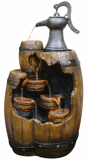 Tiered Barrels & Pump Outdoor Fountain - Click to enlarge