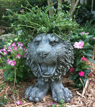 Tiger Mascot Planter - Graystone Finish - Click to enlarge