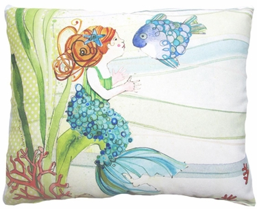 Tiny Mermaid Outdoor Pillow - Click to enlarge