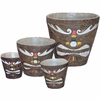 Tribal Painted Tiki Bucket Planters (Set of 4)