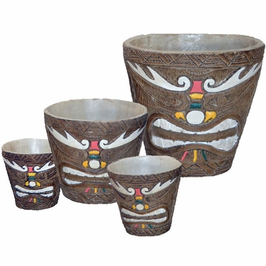 Tribal Painted Tiki Bucket Planters (Set of 4) - Click to enlarge