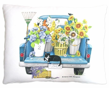 Truck w/Flowers Outdoor Pillow - Click to enlarge