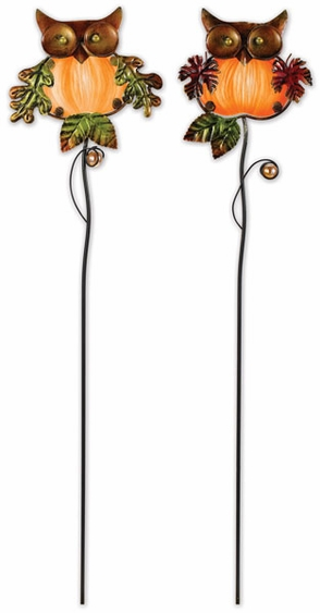 Glass Owl Plant Stakes  (Set of 2) - Click to enlarge