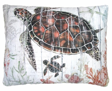 Turtle with Baby Outdoor Pillow - Click to enlarge