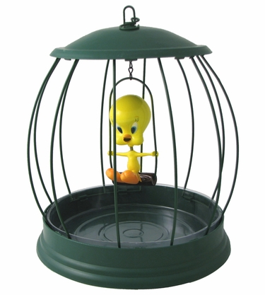 Tweety Bird in a Cage Bird Feeder - Click to enlarge