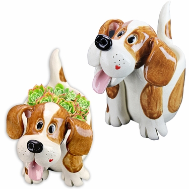 Twin Dog Planter Statues (Set of 2) - Click to enlarge