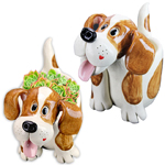 Twin Dog Planter Statues (Set of 2)