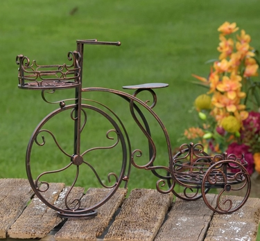 Two Basket Tricycle Plant Stand - Antique Bronze - Click to enlarge