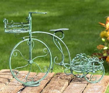 Two Basket Tricycle Plant Stand - Antique Green - Click to enlarge