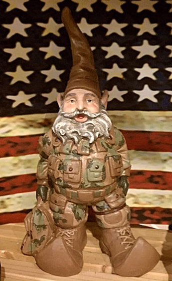 U s army gnome only at garden fun for Combat gnomes for sale