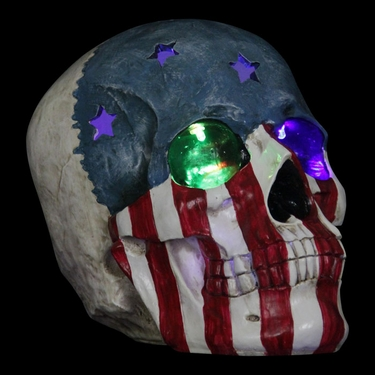 USA Flag Skull w/Color Changing LEDs - Click to enlarge